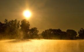 lago, nebbia, natura, paesaggio