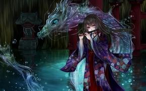 Arte, nia, dragn, agua, kimono, gotas, flauta