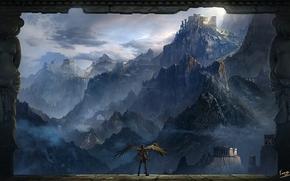 Art, landscape, man, wings, column, Statue, Mountains, rocks, clouds, height, temple, ruins