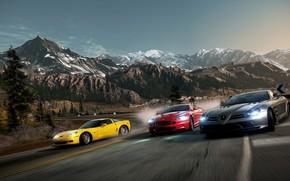суперкары, гонка, дорога, поворот