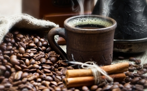 grain, cinnamon, pouch, Cezve, cup, coffee, drink, smoke