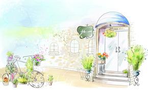 рисунок, дверь, цветы, горшок, велосипед