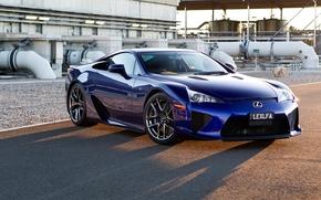 Lexus, LFA, Supercar, blu, anteriore, ombra, sfondo, Lexus