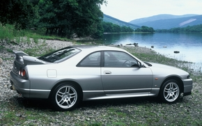Ниссан, Скайлайн, ГТ-Р, купе, серый, вид сзади, берег, вода, деревья, горы, Nissan