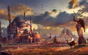 Art, cacti, sand, city, statue, ruins, camel, man, traveler, clouds, River, Birds, abandonment