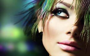девушка, макияж, перья, голубые глаза