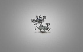 perro, robot, Color blanco, metal, mecanismo, Minimalismo, el minimalismo