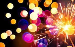 bokeh, sparklers, Sparks