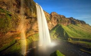 rio, cachoeira, arco-ris, vero, paisagem