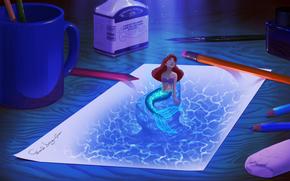 The Little Mermaid, Ariel, disegno, carta, ufficio, scrivania, Matite, inchiostro, penna, boccale, fanart