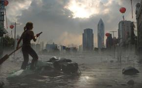 Global Flood, city, water, girl, raft, building, sky