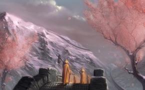 sakura, Vagabondo, ponte, Montagne, lilla, rosa, d'oro