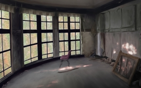 Art, room, home, situation, window, chair, frame, picture, abandonment