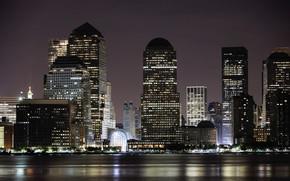 New York, city, building, night, Skyscrapers, light, lights