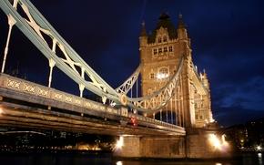 Puente de la Torre, Londres, Inglaterra, Reino Unido, ro, Thames, agua, reflexin, noche, luz, luces