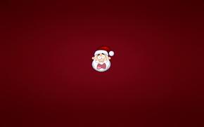 дед мороз, санта клаус, новый год, голова, минимализм, красный, малиновый, крик, шапка, борода, спешка