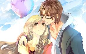 Девушка, парень, двое, влюбленные, свидание, воздушный шарик, сердце, очки, небо, облака