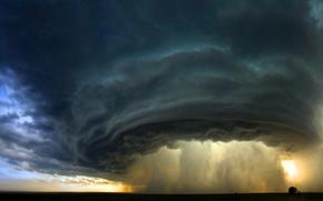 sky, clouds, horizon, hurricane, tornado, vortex, element