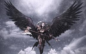 ангел, оружие, крылья