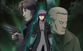 Ghost in the Shell, Motoko Kusanagi, Bato, fille, Major, Hommes, cyborg, Guns, yeux rouges, manteau, nuages, nuit
