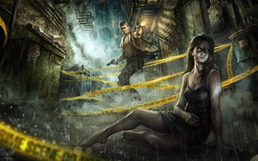 night, city, guy, girl, rain, weapon, Guns, shots, lane, tape, wounds
