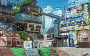Art, city, landscape, metro, fountain, building