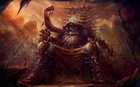 арт, трон, монстр, гигантский, люди, жертва
