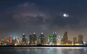 city, night, river, water, lights, moon, clouds, storm, Lightning, Skyscrapers