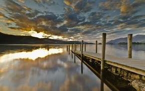 lake, berth, wharf, board, sunset, clouds, sun