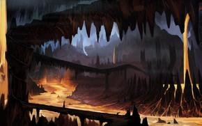 арт, пещера, лава, подземелье, мост, силуэт, человек