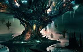 Art, tree, giant, city, waterfalls, tower