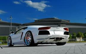 Lamborghini, Aventador, LP700-4, bianco, Cielo, nuvole, Lamborghini, Aventador, bianco, retro, Marciapiede, cielo, nuvole, auto, macchinario, Auto