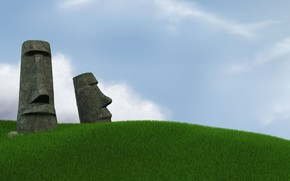 Easter Island, grass, sky, statues