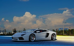 lp-700-4, branco, Aventador, Lamborghini, aventador, Branco, vista frontal, cu, nuvens, luzes, carros, maquinaria, Carro