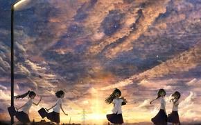 Schoolgirls, anime, girls, evening, lantern