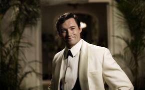 man, actor, Hugh Jackman, white suit, smile, scar