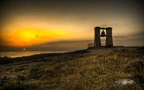 mare, costa, pendenza, campana, tramonto, cielo, orizzonte, erba