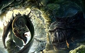 Dragons, cave, rocks