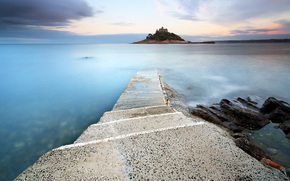 sea, road, Stone, island, fortress, city, clouds, evening, twilight, sunset, stairs