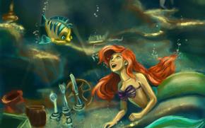 Arte, La Sirenita, sirena, Ariel, submarino, pescado, peces pequeos, situacin, Tenedor, cuchara, candelero, burbujas