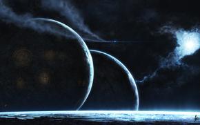 арт, космос, планеты, туманность, звезда, свечение, город, огни, корабль, след