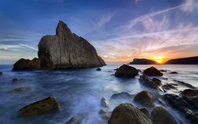 море, скалы, закат, пейзаж