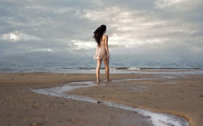 girl, sea, mood