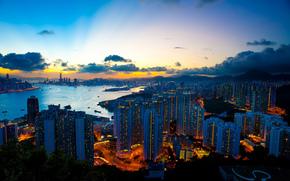 город, здания, небо, тучи, вечер, пейзаж, огни