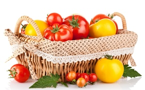 tomatoes, red, yellow, vegetables, basket