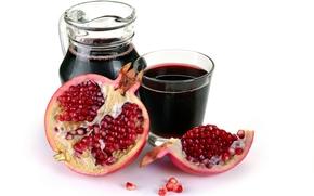 juice, pomegranate, fruit, cut, slice