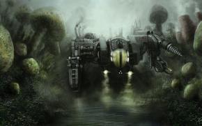 Art, machine, robot, fantasy world, mushrooms, water, swamp, pond