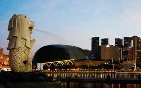 Singapore, city, fountain, home
