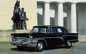 gas, 13, seagull, 1959, GAZ, Chayka, sedan, Black, front, classic, statue, column, background, cars, machinery, Car
