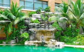 architecture, style, design, exterior, home, villa, fountain, pool